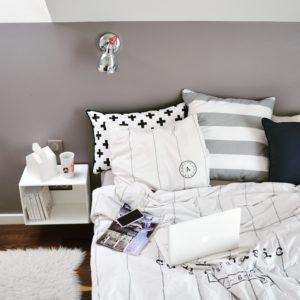 stylizacja paski, skórzany pasek, massimo dutti, klasyka, stylizacja klasyczna, nude i paski, styl marynarski, sypialnia, wnętrze sypialni, paski w sypialni, pościek hm home