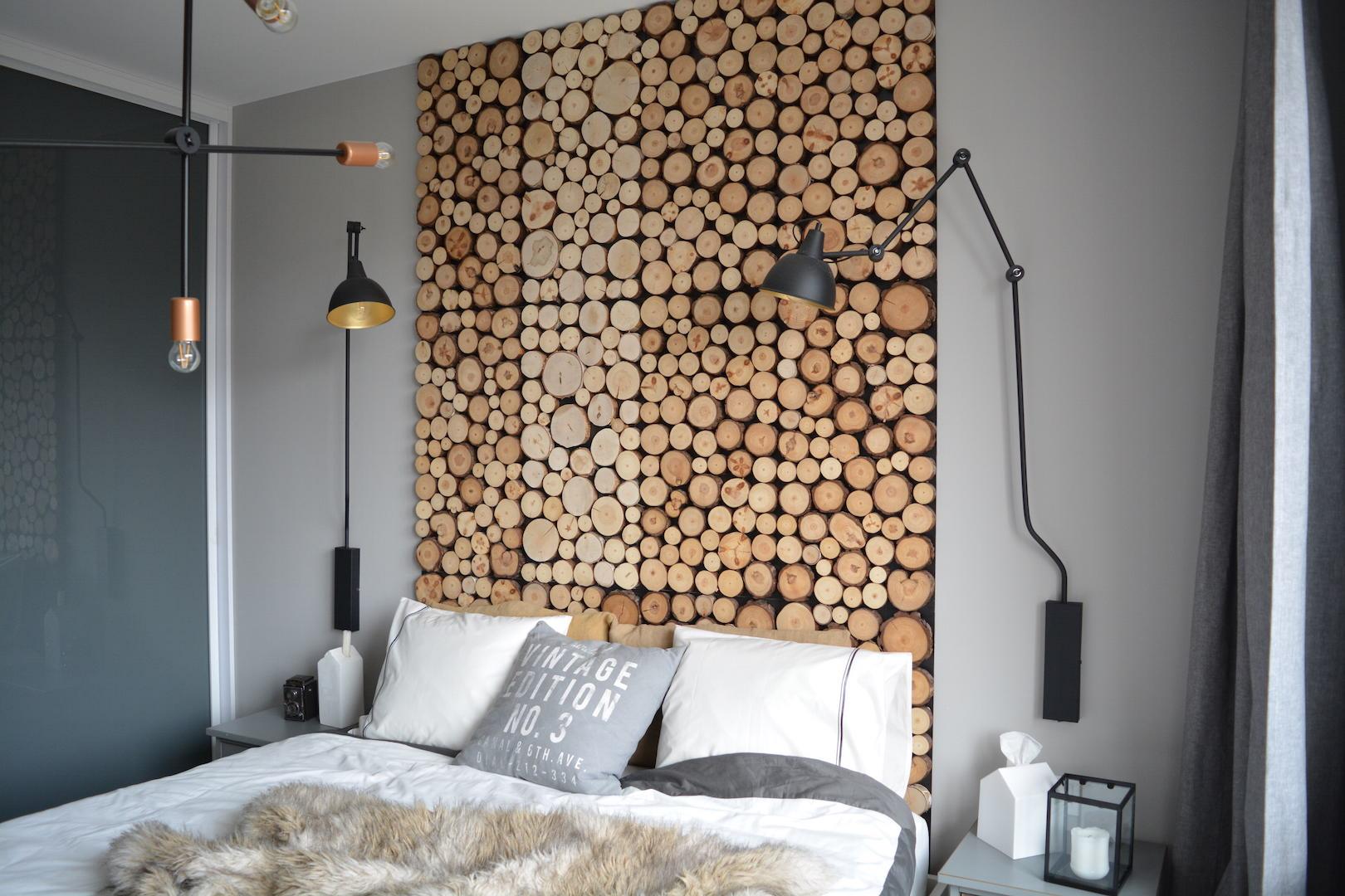 przed po, metamorfoza wnętrza, kolory, dodatki w stylu loft, mozaika drewniana, sypialnia loft
