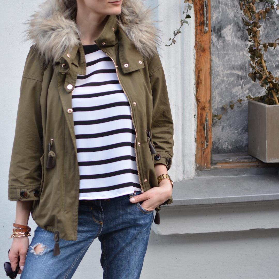 krakowski spacer & paski, stylizacja paski, paski, styl marynarski, parka, klasyczna stylizacja, casual outfit