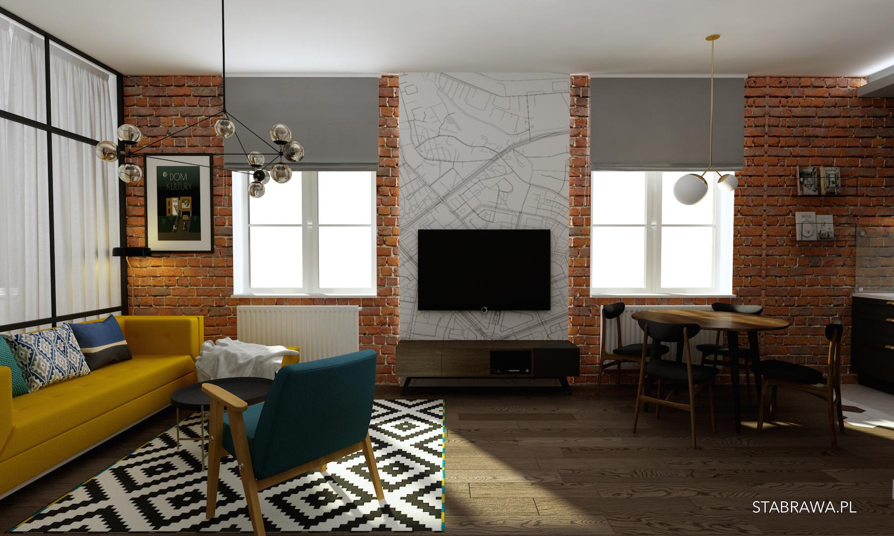 cegła loft prl projekt mieszkania, stabrawa, stabrawa.pl, projekt, wnętrze w stylu prl, mieszkanie w stylu prl