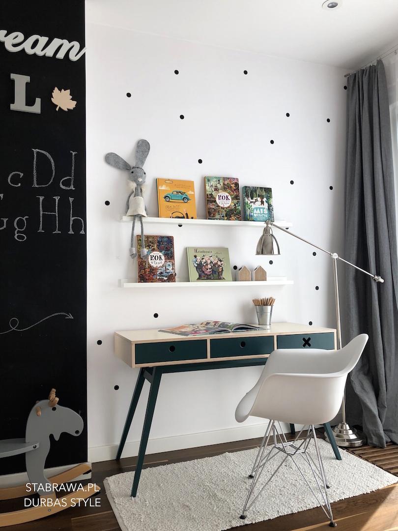 biurko kółko krzyżyk, biurko zielone, biurko dla dziecka, meble ze sklejki