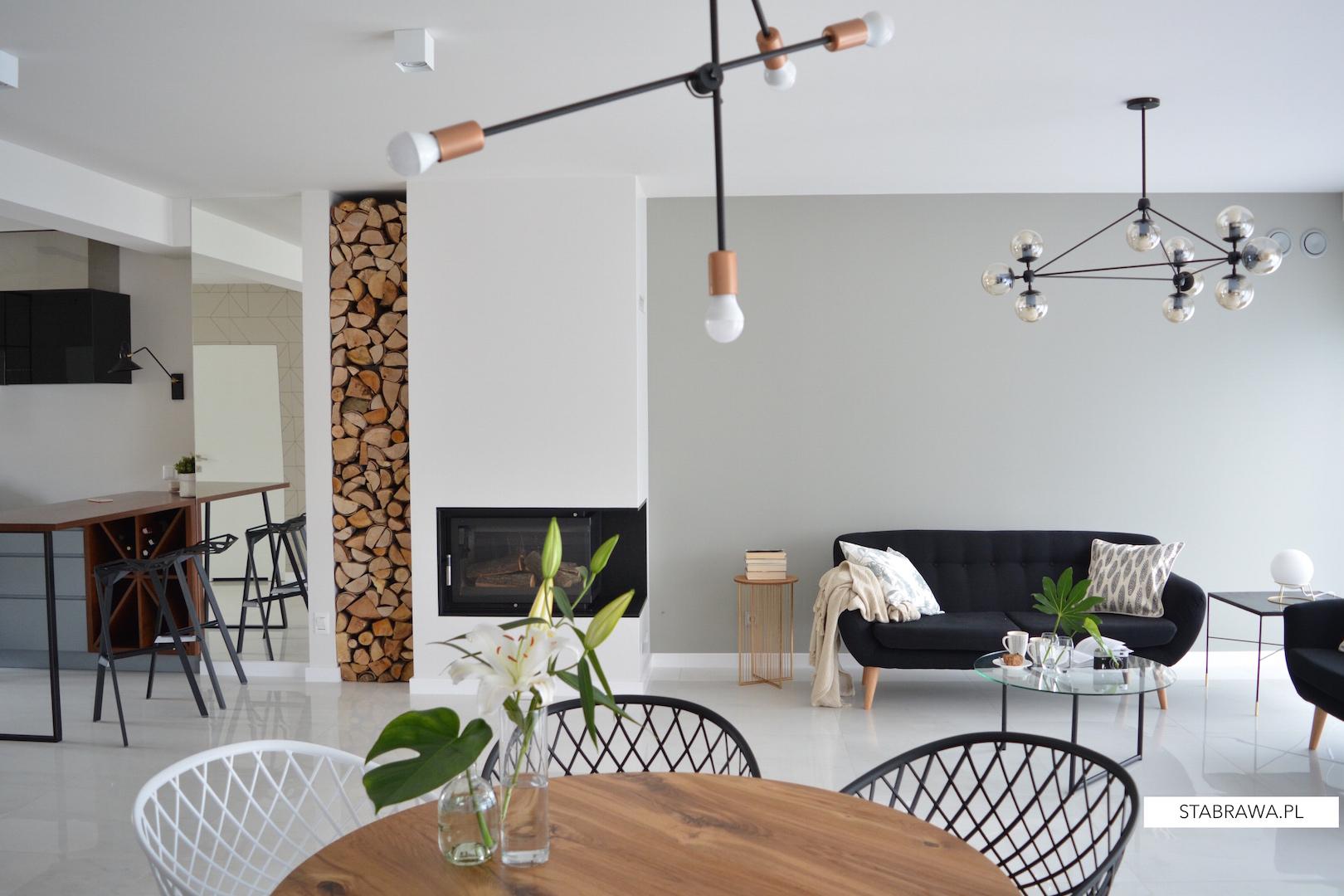 dom w chorzowie realizacja, projekt wnętrza, minimalizm, jadalnia, płytki w salonie, wnętrze minimalistyczne