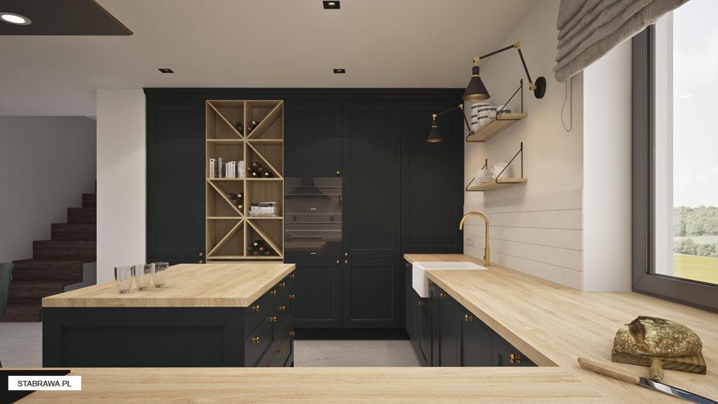 grafitowa kuchnia i drewno strabrawa